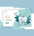 group small dentists caring large tooth web page vector image vector image