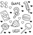 hand draw candy various doodles vector image vector image