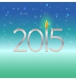 Happy new year 2015 card with candle flame vector image vector image
