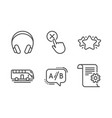 headphones bus tour and star icons set reject vector image vector image