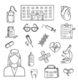 Hospital and medicine sketch objects vector image vector image