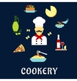 Italian cuisine flat icons with chef and dishes vector image vector image