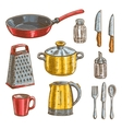 Kitchen and cooking utensils sketches vector image vector image