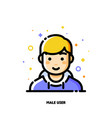 male user avatar icon of cute boy face flat vector image