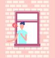 man singing song or speaking window brick wall vector image vector image