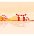 Miyajima gate at Hiroshima vector image
