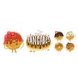 pancakes emoji set vector image