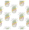 pineapple with glasses pattern vector image