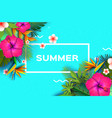 pink hibiscus flower tropical summer palm leaves vector image vector image