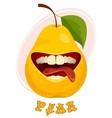 playful pear on white vector image vector image