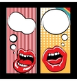 Pop art style templates with mouth vector image