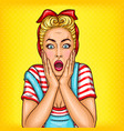 pop art surprised housewife with open mouth vector image