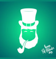 portrait of silhouette leprechaun with smoking vector image vector image