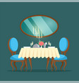 restaurant luxury interior with mirror and candles vector image