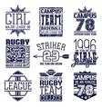 rugand baseball team college emblems vector image