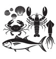Seafood silhouette set lobster prawn crab tuna