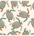 seamless ethnic pattern with turtles vector image vector image