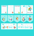 set cards with cute ice skating animals vector image