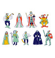 set medieval historical characters royal queen vector image