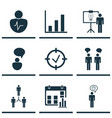 set of 9 authority icons includes personal vector image vector image