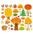 set with trees and forest animals vector image vector image