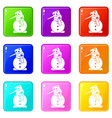snowman set 9 vector image vector image