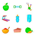 sport life icons set cartoon style vector image vector image
