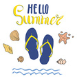 Summer Flip Flops and Lettering Isolated vector image vector image