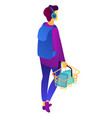 teenage shopper with shopping basket isometric 3d vector image vector image