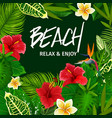tropical palm leaf beach party invitation vector image vector image
