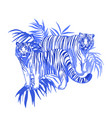 two graphic tigers standing among exotic vector image vector image