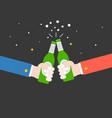 two hands toasting beer bottle cheers flat design vector image