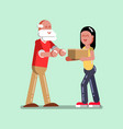 voluntire female helps to old man vector image