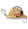 with headphone cork hat in a cartoon style vector image