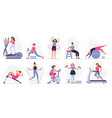 woman at sport gym set vector image vector image