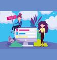 women and computer survey politics election vector image