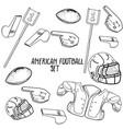 hand drawn american football elements vector image
