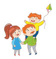 happy family playing cartoon characters vector image