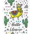 hello llama print with alpaca and cactuses vector image