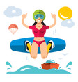 wakeboarding flat style colorful cartoon vector image