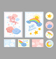 baby shower abstract cute clouds heart kid print vector image