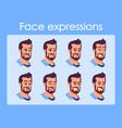bearded man cartoon character faces set vector image