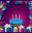 beautiful cake and gifts birthday background vector image vector image