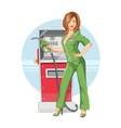 Beautiful girl on gas pump vector image