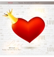 beautiful red heart with crown valentines day back vector image