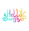 bright colorful gradient hello summer lettering vector image