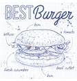 burger recipe on a notebook page vector image vector image