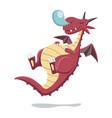cartoon style sleeping red dragon vector image