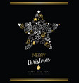 christmas and new year gold icon star ornament vector image