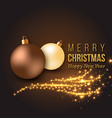 christmas golden decoration with glowing lights vector image vector image